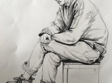 侧姿眼镜男青年速写范画临摹图片