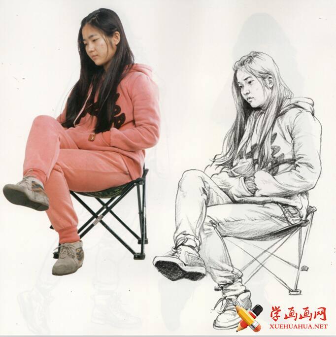 速写临摹图片:侧身坐姿二郎腿女子速写图片高清图片(1)