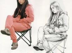 速写临摹图片:侧身坐姿二郎腿女子速写图片高清图片