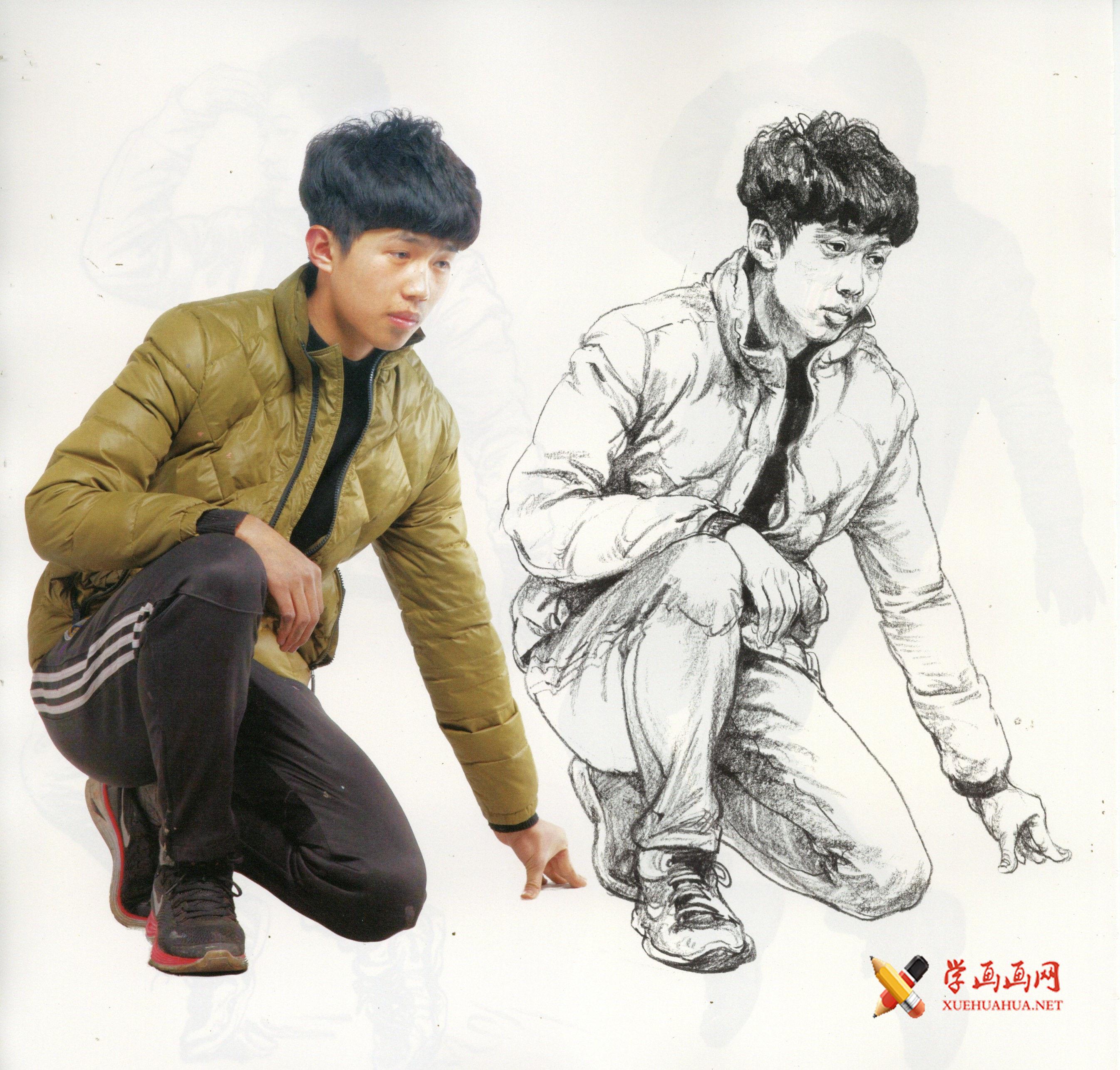 单人速写范画-半蹲的时尚少年速写范画【含照片图】(1)