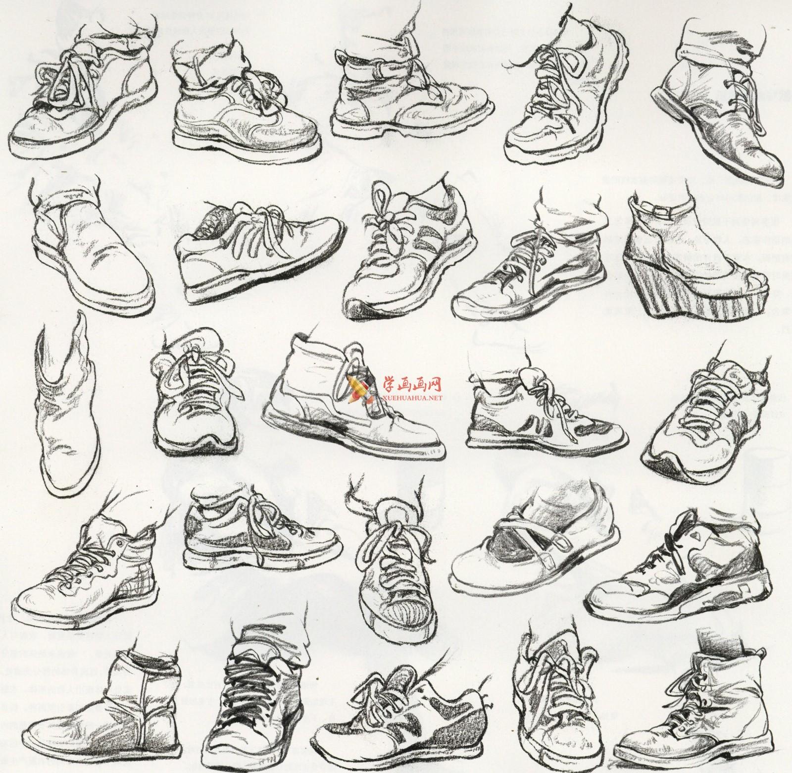 人物速写:鞋子的画法及各角度鞋子的速写画法临摹图片范画(4)