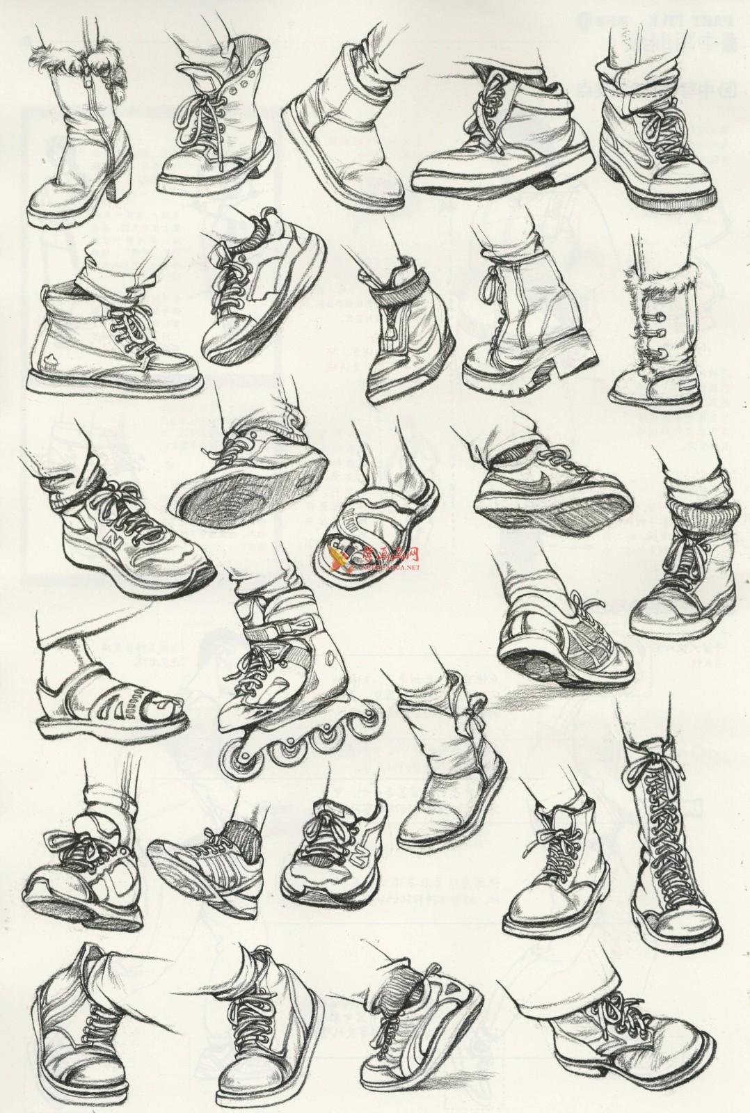人物速写:鞋子的画法及各角度鞋子的速写画法临摹图片范画(5)