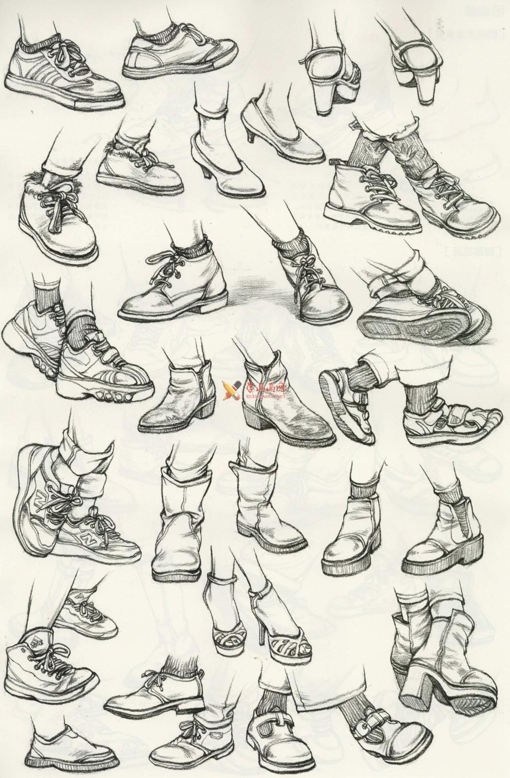 人物速写:鞋子的画法及各角度鞋子的速写画法临摹图片范画(6)