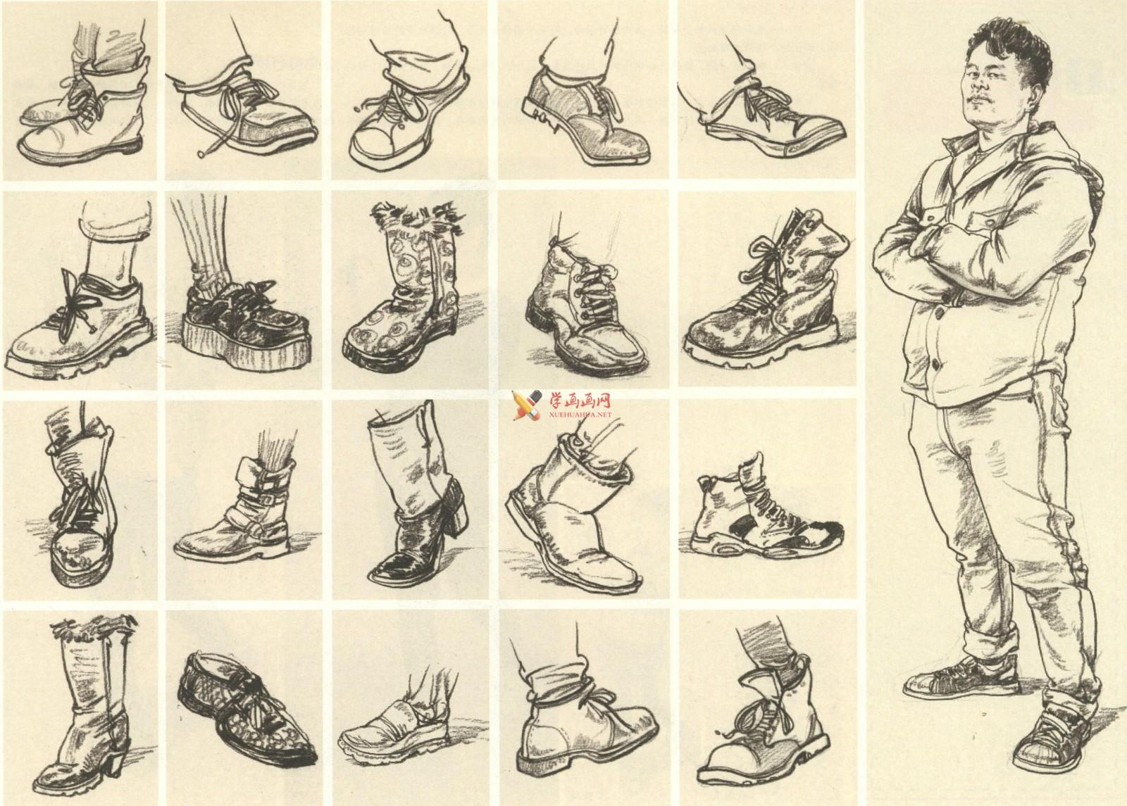 人物速写:鞋子的画法及各角度鞋子的速写画法临摹图片范画(9)