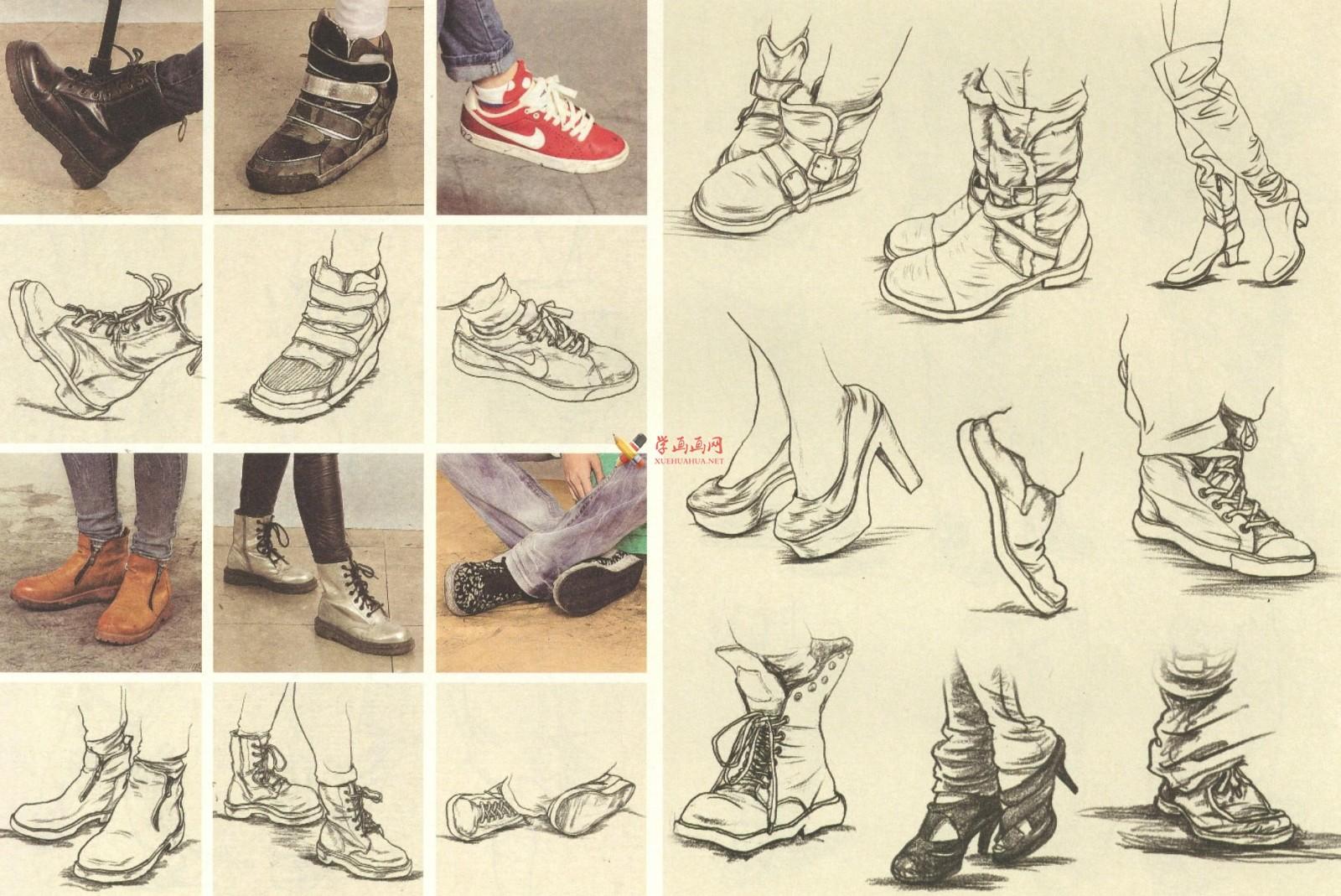 人物速写:鞋子的画法及各角度鞋子的速写画法临摹图片范画(10)