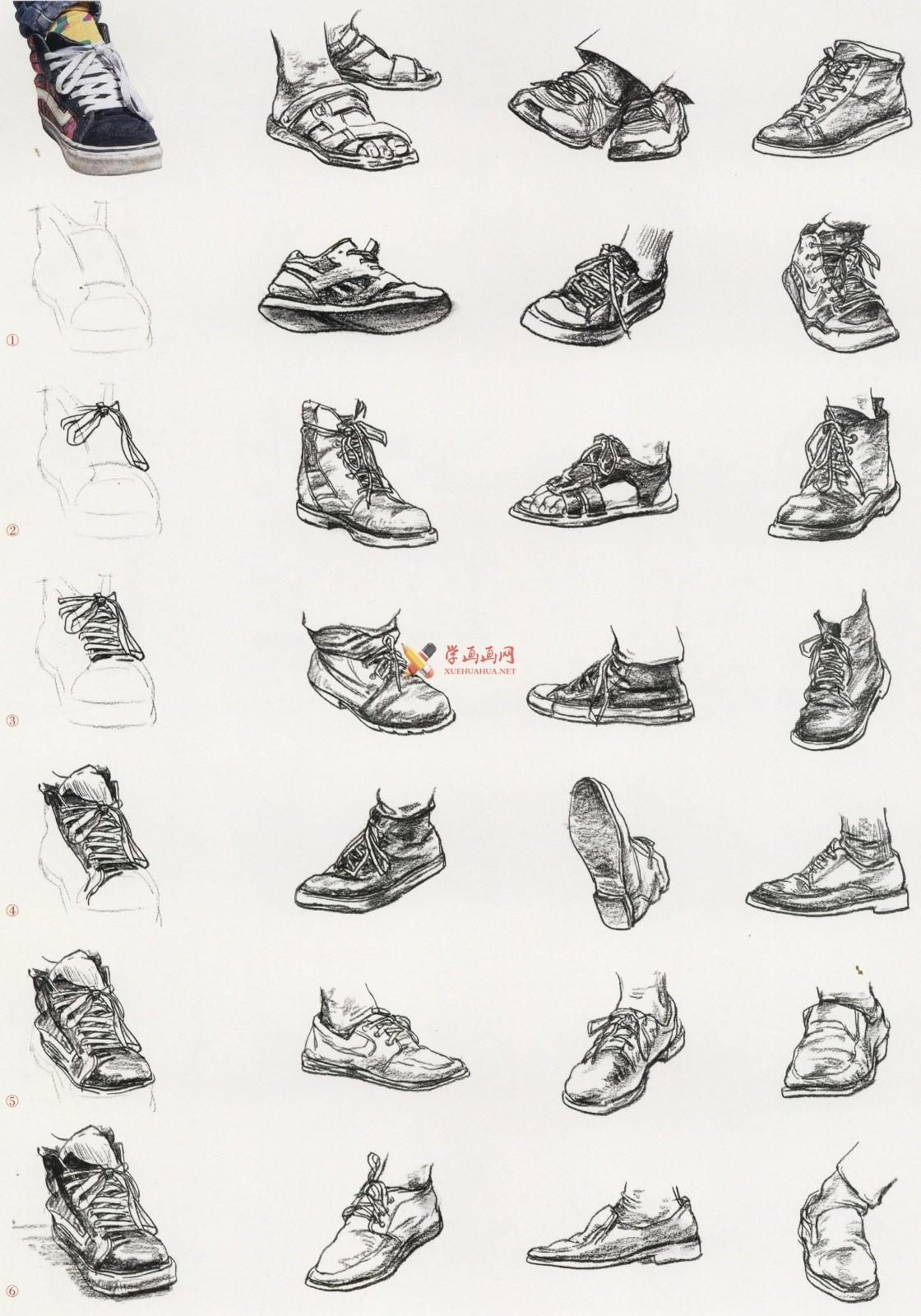 人物速写:鞋子的画法及各角度鞋子的速写画法临摹图片范画(11)