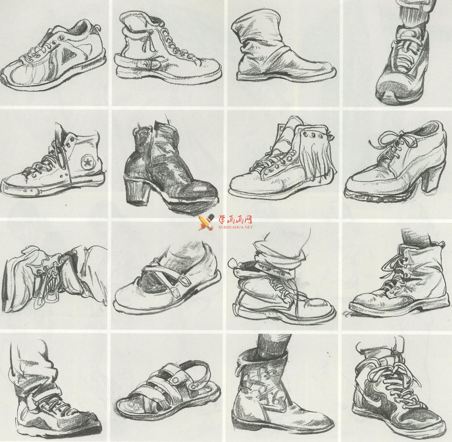 人物速写:鞋子的画法及各角度鞋子的速写画法临摹图片范画(12)