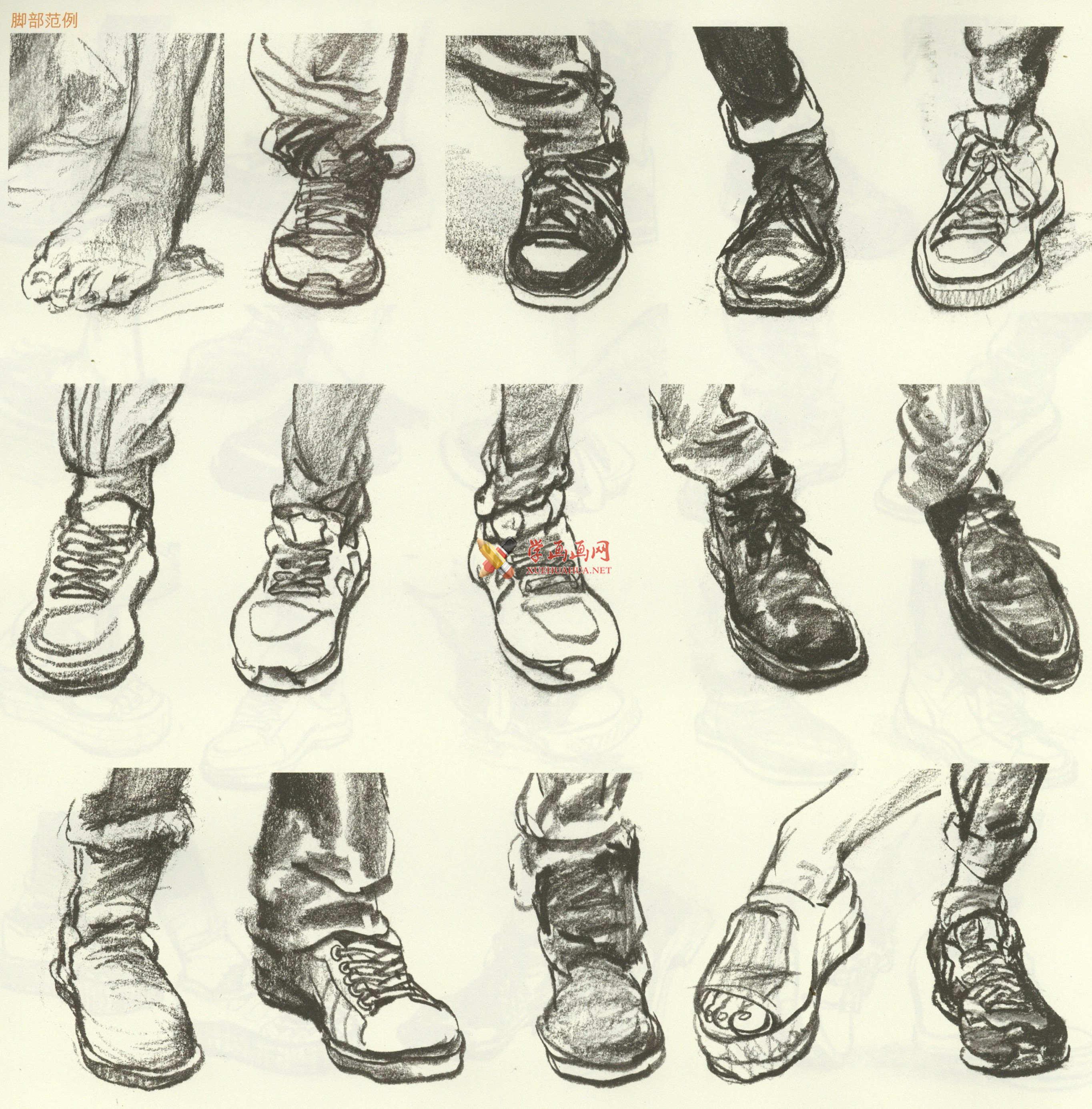 人物速写:鞋子的画法及各角度鞋子的速写画法临摹图片范画(13)