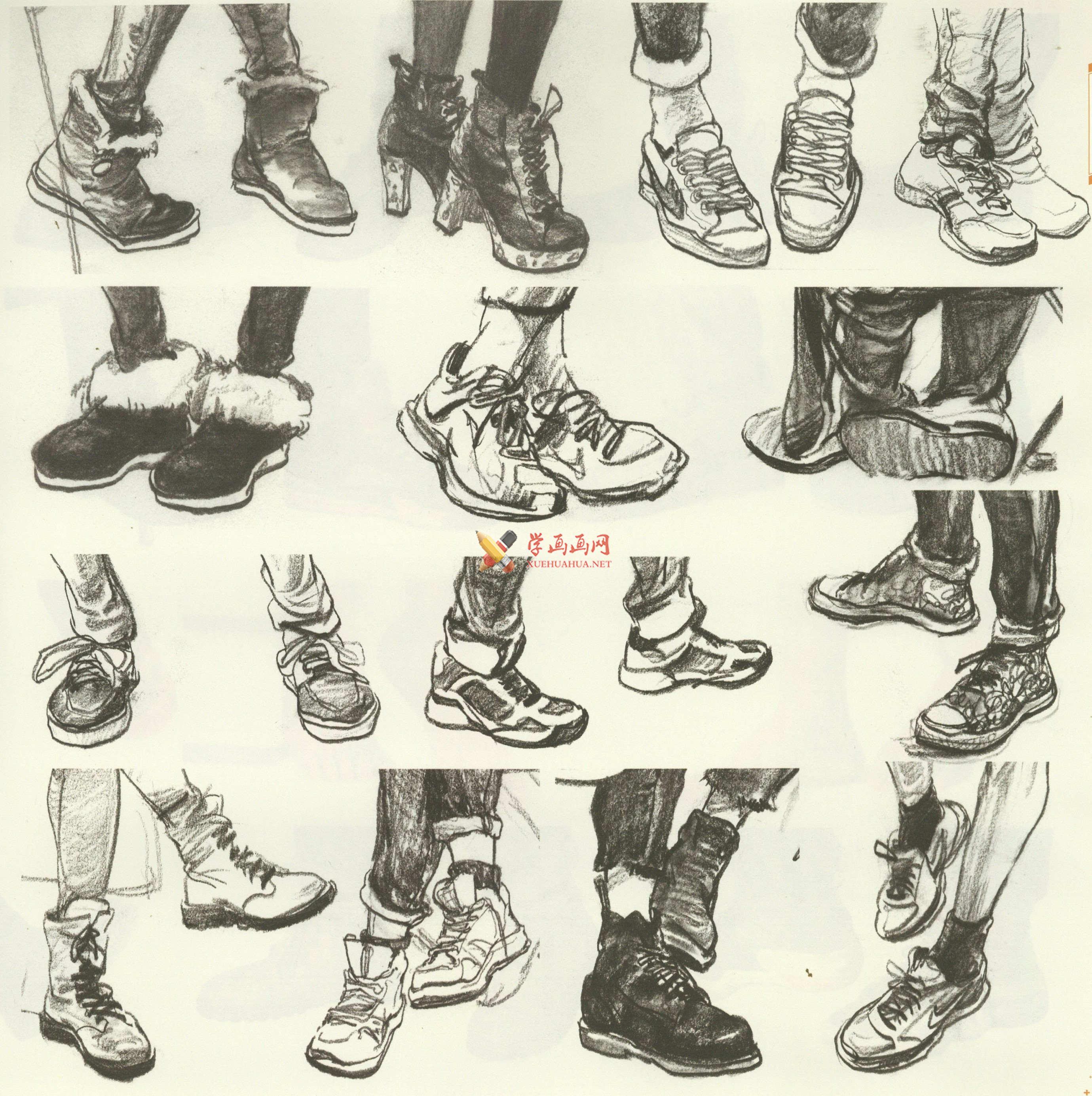 人物速写:鞋子的画法及各角度鞋子的速写画法临摹图片范画(14)