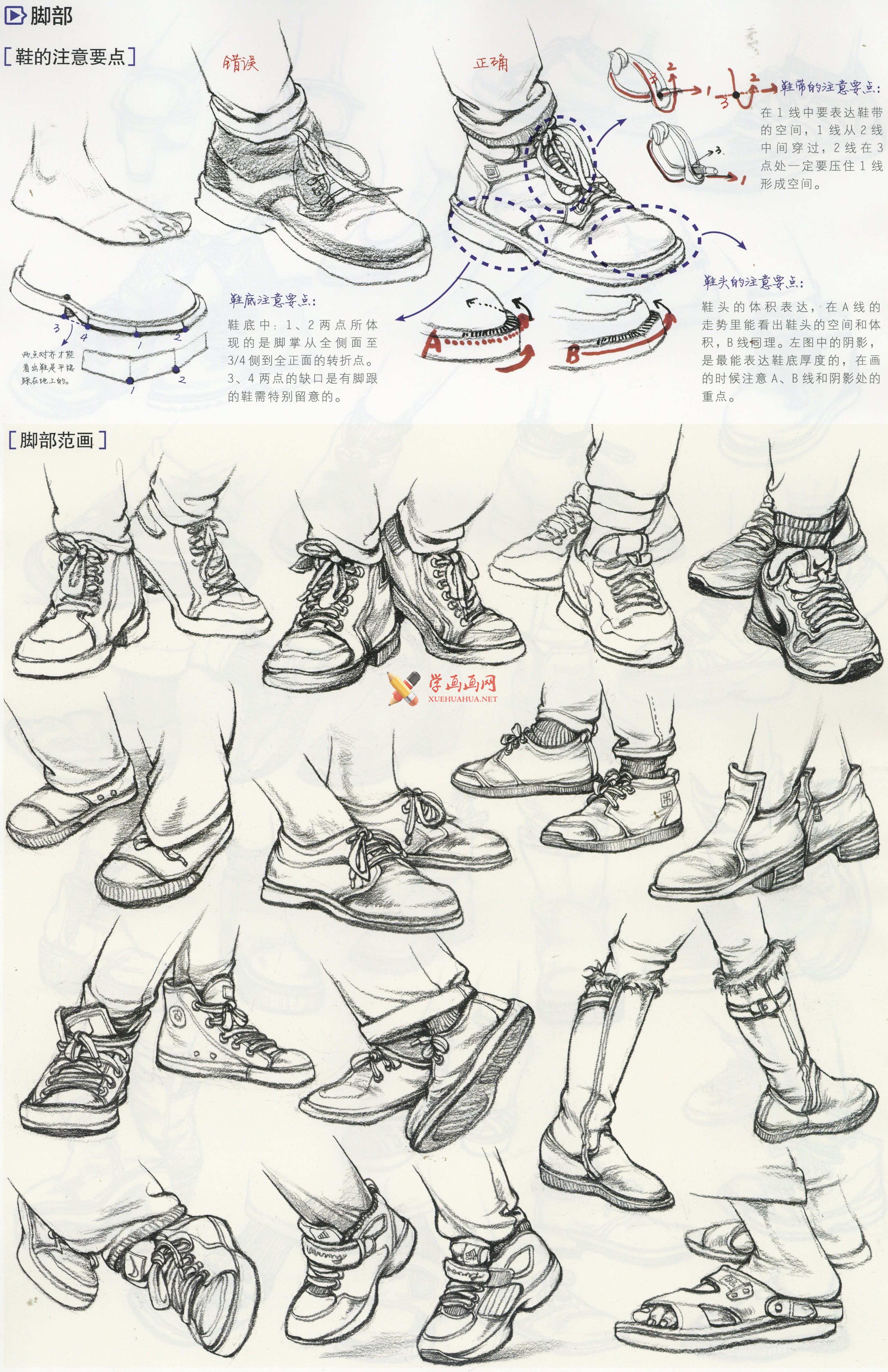 人物速写:鞋子的画法及各角度鞋子的速写画法临摹图片范画(2)
