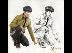 单人速写范画-半蹲的时尚少年速写范画【含照片图】
