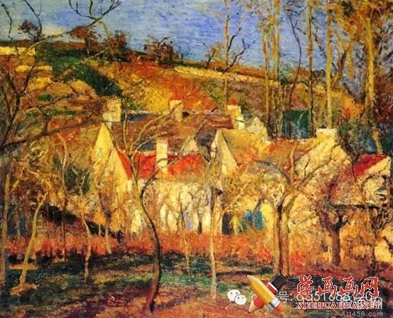 印象派大师卡米耶.毕沙罗油画风景 秋天的乡村
