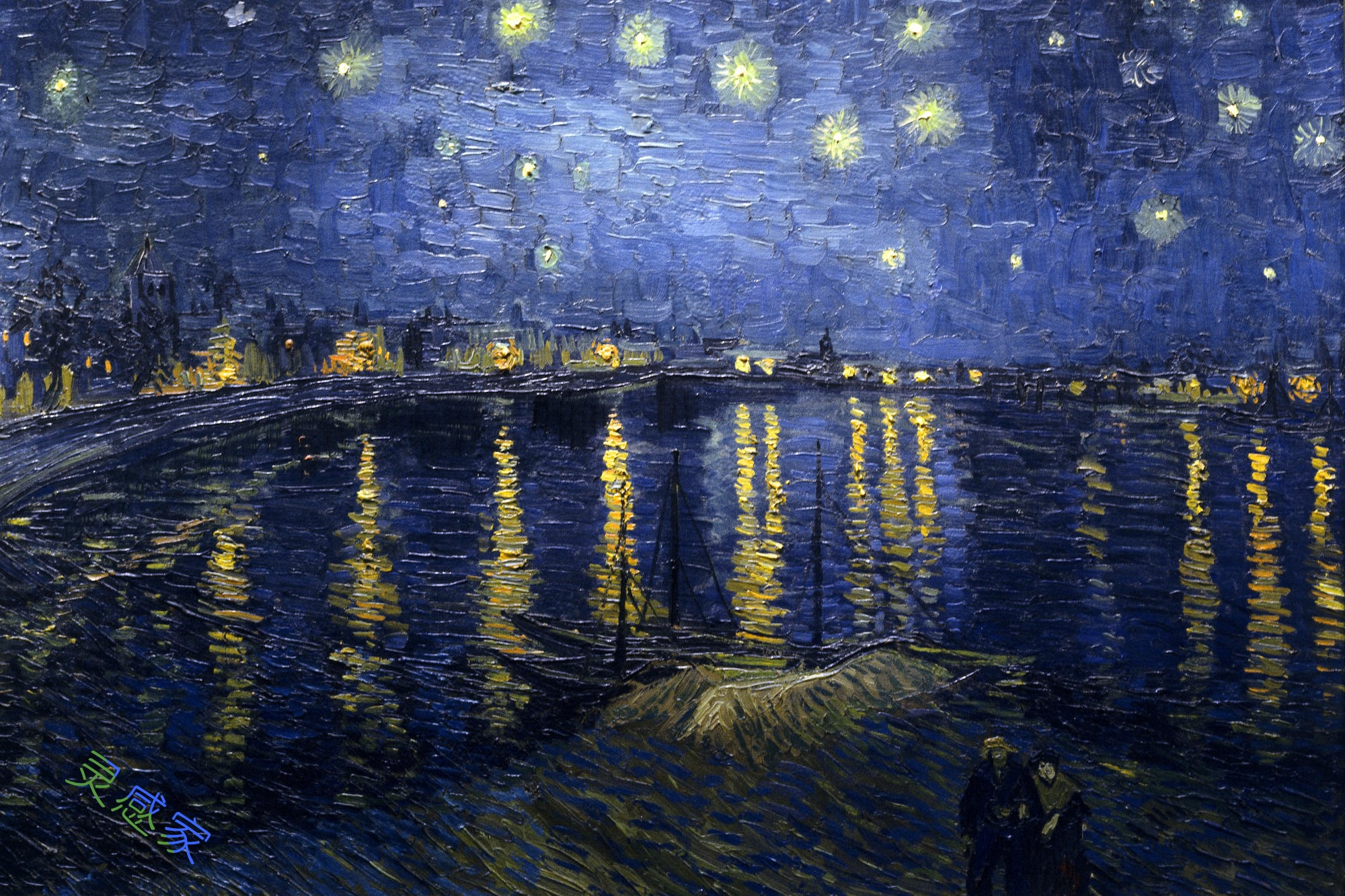 梵高星夜三部曲_《罗纳河上的星夜》高清图片赏析(1)