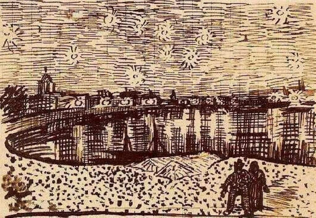 梵高星夜三部曲_《罗纳河上的星夜》高清图片赏析(2)