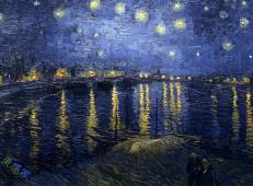 梵高星夜三部曲_《罗纳河上的星夜》高清图片赏析