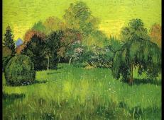 有垂柳的公园是诗人的花园_梵高作品高清图片赏析