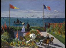 莫奈油画作品《圣阿得列斯花园阳台》高清图片赏析