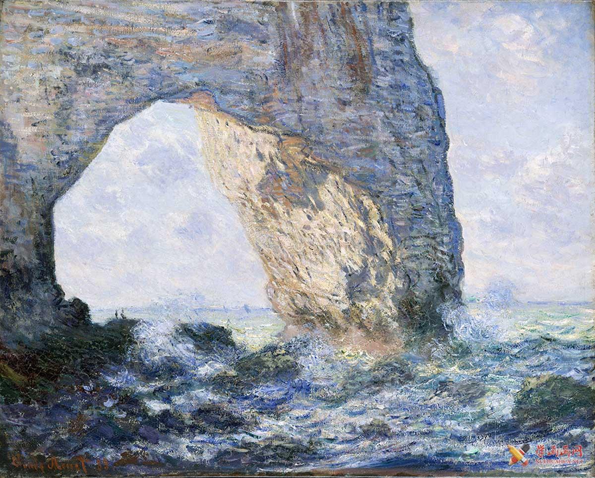 莫奈《埃特尔塔的悬崖》超清图片下载(1)