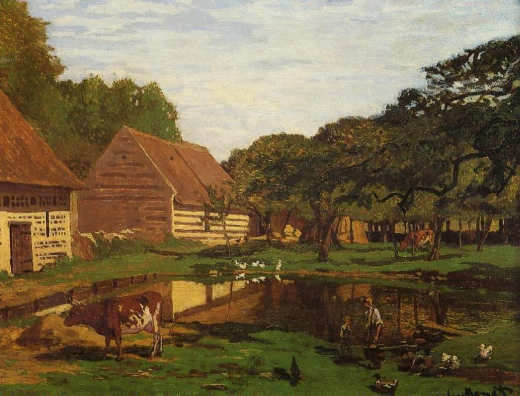 莫奈油画作品《诺曼底农场》欣赏(1)
