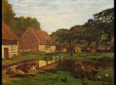 莫奈油画作品《诺曼底农场》欣赏