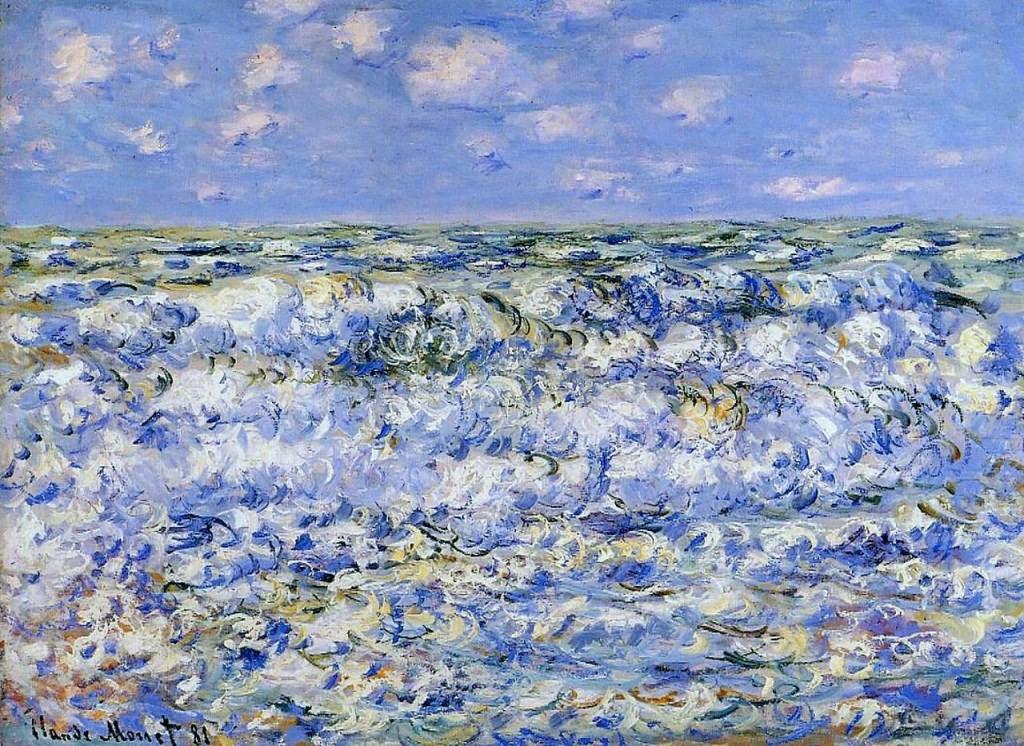 莫奈油画海浪(1)