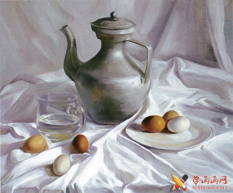 油画静物教程《银灰色调藏壶》作画步骤(5)