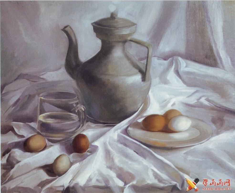 油画静物教程《银灰色调藏壶》作画步骤(2)