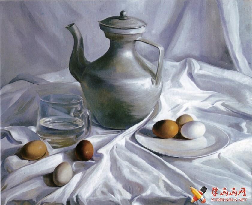 油画静物教程《银灰色调藏壶》作画步骤(6)