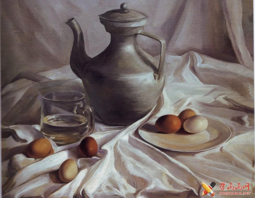 油画静物教程《银灰色调藏壶》作画步骤(7)