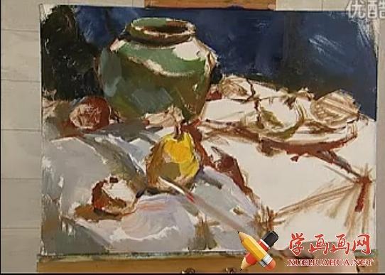 油画色彩静物写生视频教程(6)