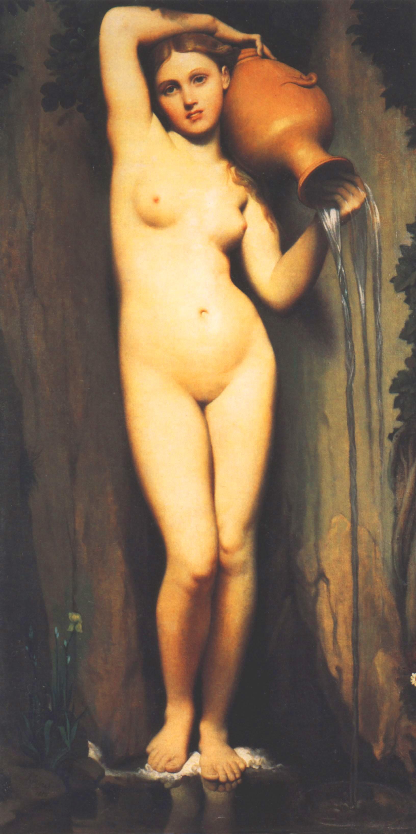 安格尔最美的女性人体油画作品《泉》高清图片赏析(1)