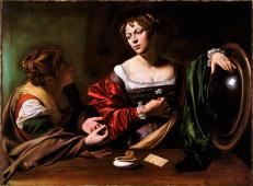 《玛莎和抹大拉的马利亚》高清油画_卡拉瓦乔作品欣赏