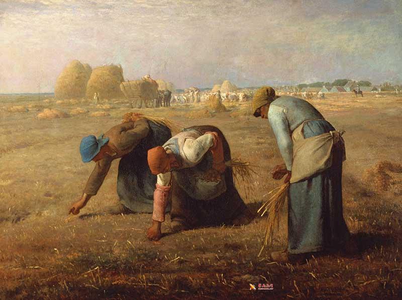 米勒代表作《拾穗者》高清油画在线赏析(1)