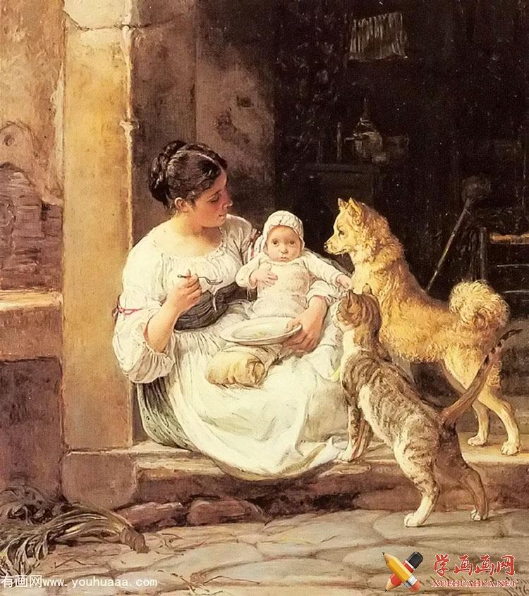 油画人物作品《喂养宝宝》feeding the baby(1)