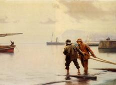 战争主题油画《发射》
