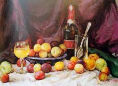 优秀静物水粉画作品:水果、可乐瓶、玻璃杯、不锈钢汤匙组合