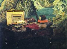 莫奈油画作品《画室一角》欣赏