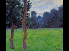 草地上的两棵树 莫奈.jpg