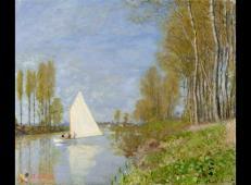 阿让特伊塞纳河小支流上的小船 莫奈.jpg