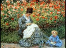 阿让特伊莫奈花园里的卡美伊·莫奈和孩子 莫奈.jpg