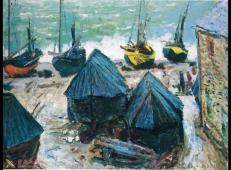 岸边的渔船 莫奈.jpg