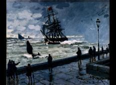 恶劣天气下的勒阿弗尔港码头 莫奈.jpg