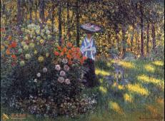 阿让特伊花园里打伞的女子(卡美伊) 莫奈.jpg