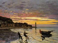 《翁弗勒海滩,拉船上岸》莫奈作品大全.jpg