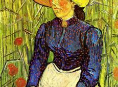 坐在麦田前年轻的戴着草帽的乡下女孩 荷兰 梵高 油画.jpg
