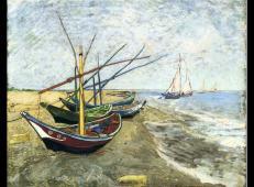 在圣马迪拉莫海边的渔船 荷兰 梵高 油画 梵高博物馆藏 1888.jpg