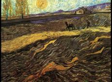 有围栏的麦田和犁田的人 荷兰 梵高 油画.jpg