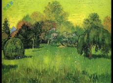 有垂柳的公园是诗人的花园 荷兰 梵高 油画 1888.jpg