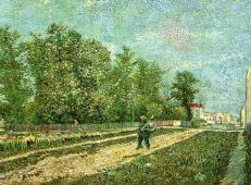 在巴黎郊区扛着铲子的男人 荷兰 梵高 油画.jpg