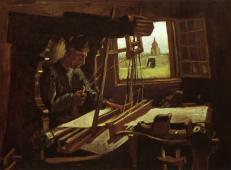 一扇敞开的窗前的织布工 荷兰 梵高 油画.jpg